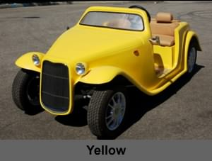 california roadster neighborhood electric vehicle in yellow color